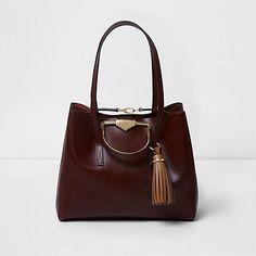 Burgundy leather metal handle large tote bag £80.00