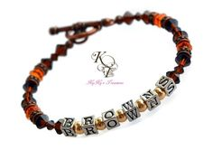 Cleveland Browns Jewelry, Browns Bracelet, Sports Team Jewelry, Football Jewelry, Football Team Bracelet, Browns Gift, Christmas Gift
