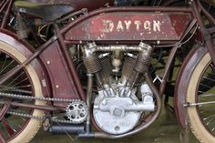 Ray Steelman's 1913 Dayton motorcycle uses an engine built by the F. W. Spacke Manufacturing Company in Indianapolis, but the crankcase had a casting that said Dayton