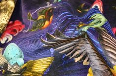 SANTORUS FABRICS : Arrivée Des Oiseaux – Cobalt : 100% British Velvet • Sumptuous Feel • Made in UK : Shop online now at www.santorus.com
