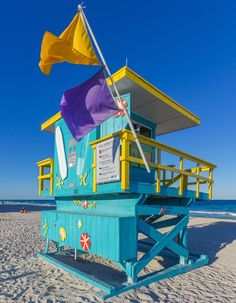 Awesome colorful lifeguards stand at south beach by South Beach Miami, Miami Florida, Florida Beaches, Surf Mar, Birdhouse Designs, Bird Houses Painted, Beach Color, Beach Bars, Lifeguard