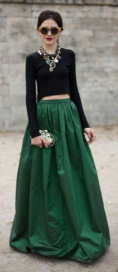 Pleated Maxi Full Skirt in Green