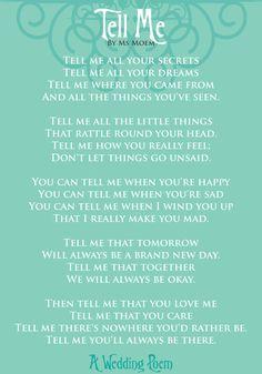 Tell Me – A Wedding Poem   Ms Moem   Poems. Life. Etc.