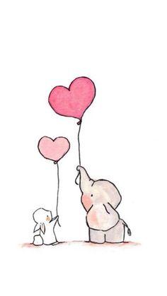 Fliegende Herzen Pink we archival print 8 x 10 - Diy Papier & Origami Cute Easy Drawings, Cute Animal Drawings, Kawaii Drawings, Cartoon Drawings, Illustration Inspiration, Art Inspiration Drawing, Inspiration Wall, Illustration Fashion, Disney Drawings