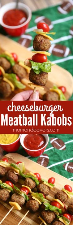 Cheeseburger Meatball Kabobs - a fun party appetizer, easy weeknight meal, or perfect football food! AD