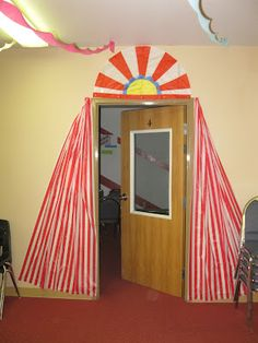 It's that time of year again.VBS or Vacation Bible School for those of you who are unfamiliar with this summer school for kids. VBS is v. Vbs Themes, Carnival Themes, Circus Theme, Classroom Themes, Circus Tents, Carnival Activities, Circus Classroom, Circus Party, Circus Decorations