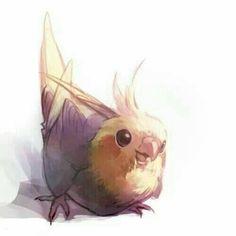 New cute bird pictures parrots ideas Cute Animal Drawings, Bird Drawings, Kawaii Drawings, Animal Sketches, Cute Drawings, Art Sketches, Funny Birds, Cute Birds, Posca Art