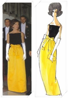 Jackie Kennedy, 1961, wearing a sleeveless tank top in black silk with a mustard gold satin bell shaped skirt with a signature bow fringed at the ends  Design and illustration by Oleg Cassini.