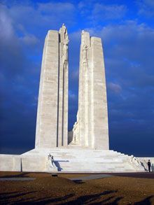 The Canadian National Vimy Memorial is one of Canada's most important overseas war memorials.  It was constructed as the national memorial for those Canadians who gave their lives in the First World War.  It's located in France, on the site of the Battle of Vimy Ridge. The memorial stands atop Hill 145, near the towns of Vimy and Givenchy-en-Gohelle.    France deemed the area surrounding the monument, about 1 km², to be Canadian territory in 1922, as an expression of gratitude to the…