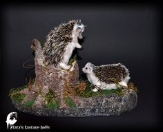 Stand stump for 2 small faux taxidermy art doll animals, Nature Forest Miniature decoration - 16 January 2017 - Blog - Zlata's fantasy dolls
