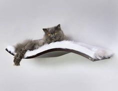 Repisa de onda perca de gato piel sintética blanca como la