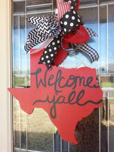 Hey, I found this really awesome Etsy listing at https://www.etsy.com/listing/263715363/wooden-door-hanger-welcome-yall-texas