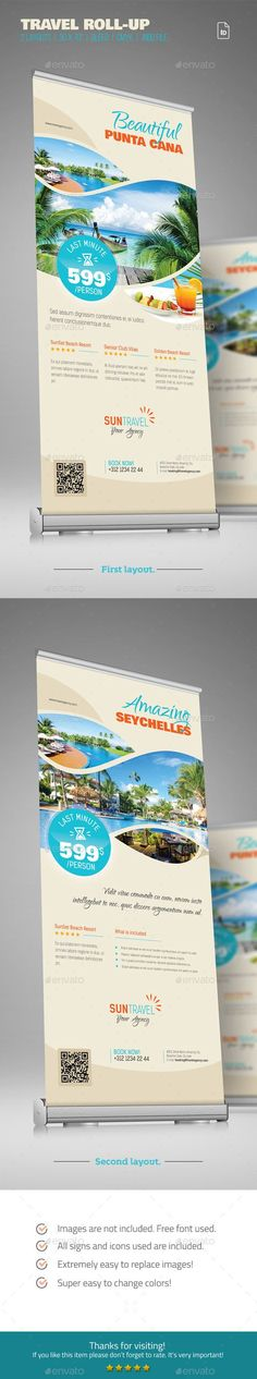 Travel / Holiday Roll-up by sabin_vp Travel Roll-up DescriptionThis Travel Roll-up represent the simple and efficient way to present your Agencyholiday packages at fai Creative Brochure, Brochure Design, Brochure Template, Banner Template, Flyer Template, Sun Template, Signage Design, Banner Design, School Template