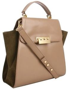 Zac Posen Satchel in Tan leather with khaki suede