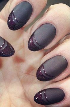 Deep plum shiny and matte mani. Image via Maria Colon R