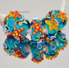 1 glass starfish European charm bracelet bead yellow orange blue lampwork murano