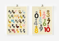 Children decor, Alphabet and Number Posters, Kids wall art animal art print @BabyList Baby Registry Baby Registry