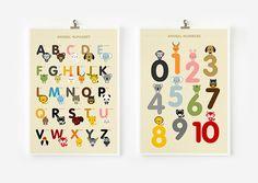 Children decor, Alphabet and Number Posters, Kids wall art animal art print @BabyList Baby Registry Baby Registry
