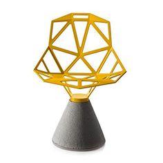 Magis Chair One Drehstuhl mit Zementfuß, gelb lackiert für den Außenbereich geeignet