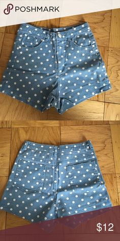 High Waisted Polka Dor Brandy Melville Shorts These are super cute and have been worn a few times. They are from brandy but the tag came off. The button is a bit loose which is reflected in the price. Always willing to negotiate price but absolutely NO TRADES. Brandy Melville Shorts