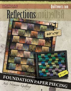 "Reflections - Available from Quiltworx.com - A Judy Niemeyer Quilting Company. Shop for more patterns and quilting supplies on store.quiltworx.com.  This pattern makes one 60"" x 70"" quilt, the pattern cost is $25.00."