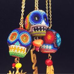 The Skull for Huichols shows us that death must be a happy event, full of color an folklore. La calavera para los Huicholes muestran que la muerte debe ser un evento feliz, lleno de color y folclore Get yours @ thestatementbym.etsy.com Thestatementbym.com