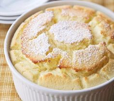 Wow Your Guests With This Delectible Dessert: Fluffy, Delicate Lemon Cake Tops A Layer Of Lemon Pudding For A Zesty Finish In This Lemon Souffle Recipe: Lemon Dessert Recipes, Lemon Recipes, Sweet Recipes, Dinner Recipes, Dessert Food, Egg Recipes, Potato Recipes, Pasta Recipes, Crockpot Recipes