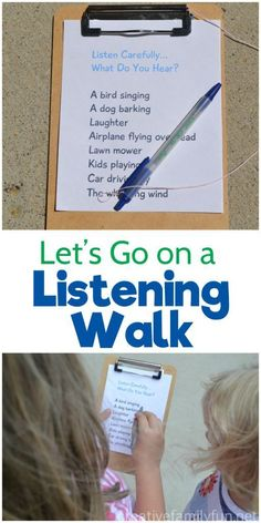 Let's Go On a Listening Walk – Creative Family Fun Listen carefully, what do you hear? Go on a fun listening walk and use your ears to find everything on this printable scavenger hunt for kids. Nature Activities, Outdoor Activities For Kids, Outdoor Learning, Summer Activities, Learning Activities, Preschool Activities, Outdoor Games, Backyard Games, Language Activities