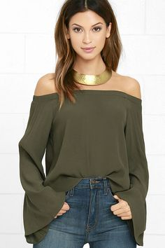 The Gentle Stream Olive Green Off-the-Shoulder Top soothes our souls and lifts our spirits! Lightweight woven fabric falls from an…