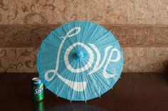 Medium Turquoise Parasol or Umbrella with Love - Children or Wedding