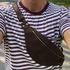 Leather Fanny Pack, Leather Belt Bag, Leather Men, Black Leather, Mini Mochila, Waist Pouch, Vintage Backpacks, Hip Bag, Vintage Leather