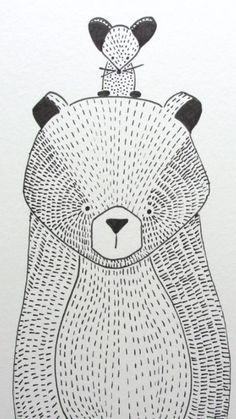 I chose this children's illustration because the choice of pattern gives the drawing texture. Art D'ours, Motifs Textiles, Motifs Animal, Bear Art, Kids Prints, Children's Book Illustration, Illustration Children, Nursery Art, Cute Drawings