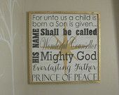 24x24 For unto us a Child is born gold framed distressed wood sign *Inspirational handmade wood art