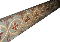 Painted Ceiling Beams:  A complex repeating pattern complements the simpler, larger scale design seen previously. Each pattern is painted on two beams respectively, and set off by plain beams in-between. Hillsborough, Ca.