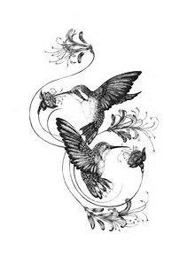 Image result for Honeysuckle and Hummingbird Tattoos Vine
