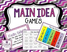 Have fun practicing identifying, understanding, and expressing main ideas with these three games for Special Education, Reading Strategies, Speech Therapy!