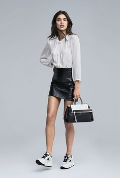Sara Sampaio by Sebastian Kim for Hogan, S/S 2017 campaign. Sneaker Outfits Women, Basic Outfits, Fall Outfits, Casual Outfits, Casual Street Style, Sara Sampaio, Leather Dresses, Beautiful Outfits, Beautiful Clothes