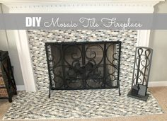 DIY Mosaic Tile On The Fireplace Mosaik Kamin, Diy Kamin, Kamine, Mosaik Diy