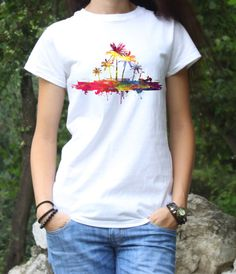 Palms T-shirt - Hawaii Tee - Island Art shirt - Fashion T-Shirt - White shirt - Printed shirt - Womens T-shirt  This fashion shirt is a perfect apparel for every day. My T-shirts are with unique design and your friends will see you with something special. For my products I choose only the best! I use premium quality white t-shirts 100% cotton, and a professional textile printer which infuses inks into the cotton material. This process guarantee that the image wont rub or peel.  Size: From…
