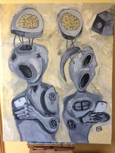 Couple of Lovers #drawing #cellphone #art #acrylic #acrylicpainting #painting #acrilico #brain #technology