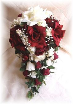 Bridal Bouquets, Red Burgundy Cream Bouquets, Cream Ivory, Cascading ...