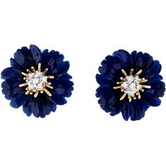 Pre-owned Lapis and Diamond Flower Earclips (40.195 CZK) ❤ liked on Polyvore featuring jewelry, earrings, preowned jewelry, blue jewelry, blossom jewelry, flower jewelry and carved jewelry