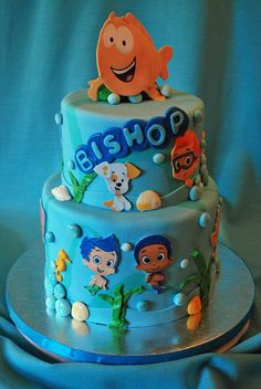 Bubble Guppies birthday cake with fondant decorations Bubble Guppies Party Supplies, Bubble Guppies Birthday Cake, Bubble Birthday Parties, Birthday Ideas, 2nd Birthday, Birthday Cakes, Birthday Board, Cupcakes Fondant, Cupcake Cakes