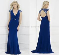 free shipping new sexy v-neck cap sleeves beads open back long a-line Vestidos De Fiesta prom party evening dresses