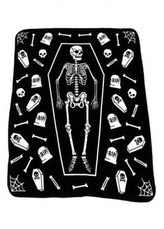 Sourpuss Skeleton Blanket | Attitude Clothing