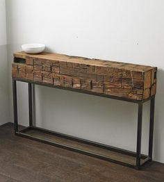Console table made from era beam harvested from a Virginia tobacco farm barn. Diy Furniture Projects, Find Furniture, Home Furniture, Furniture Design, Timber Furniture, Rustic Furniture, Timber Table, Timber Beams, Modern Console Tables