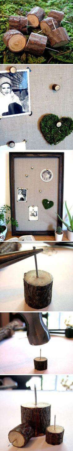 DIY Push Pins made of wood - great idea for the office or hallway