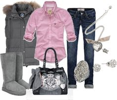 pink and grey by sandreamarie, via Polyvore