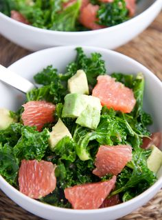 Kale, avocado & grapefruit salad. Love the combination of the sweet and tart grapefruit with the slightly bitter kale. This is a salad that will kick the cravings to the curb with it's wonderful flavor profile and balance of healthy fats.