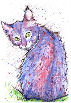 7/8th spring 2015 JOSIE P ORIGINAL WATERCOLOUR Cat Painting Chat Art Katze Kitten